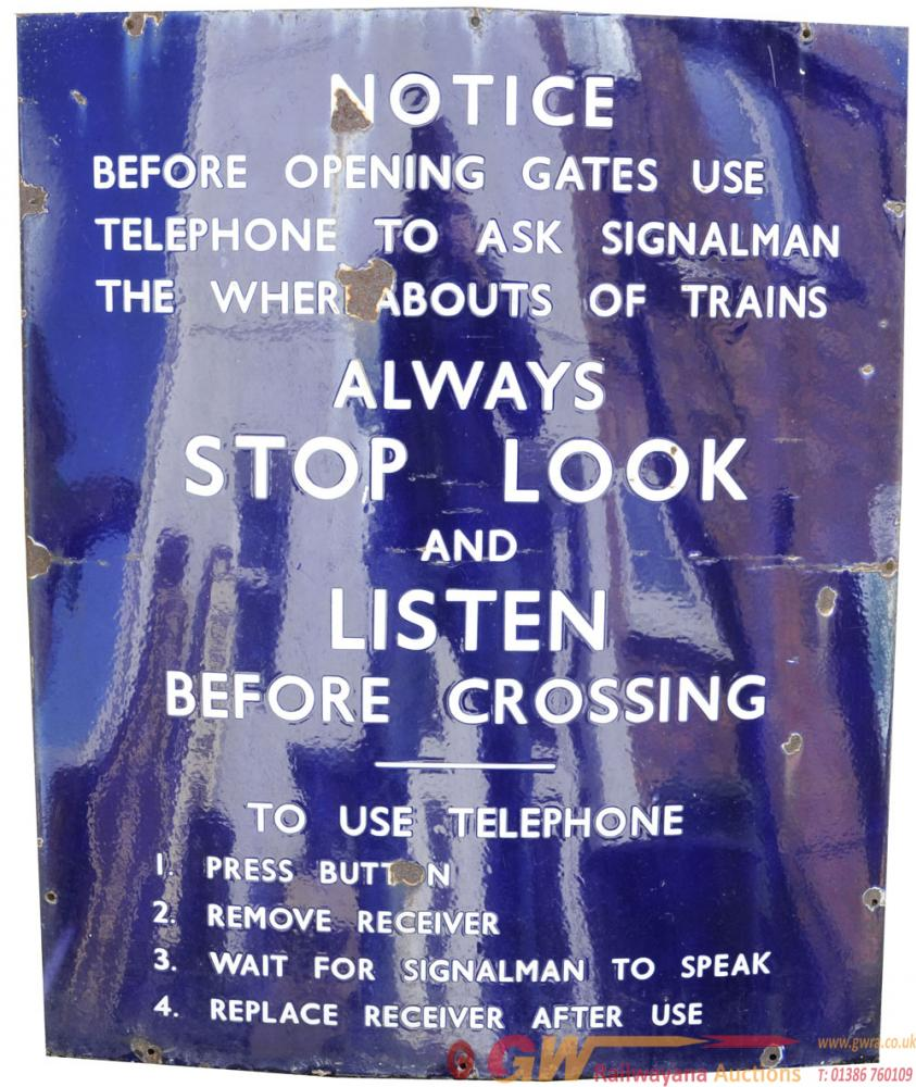 BR(E)  Enamel Sign 'Before Opening Gates Use The