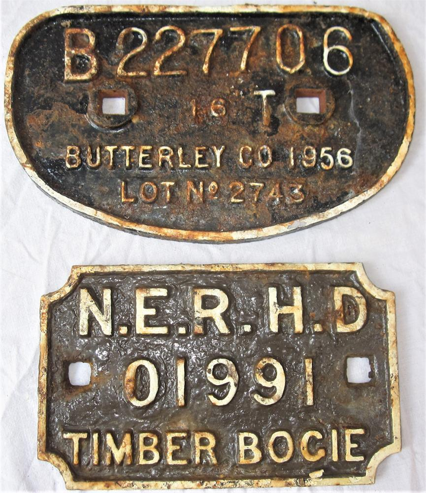 2 X Railway Wagon Plates. BUTTERLY Co 1956