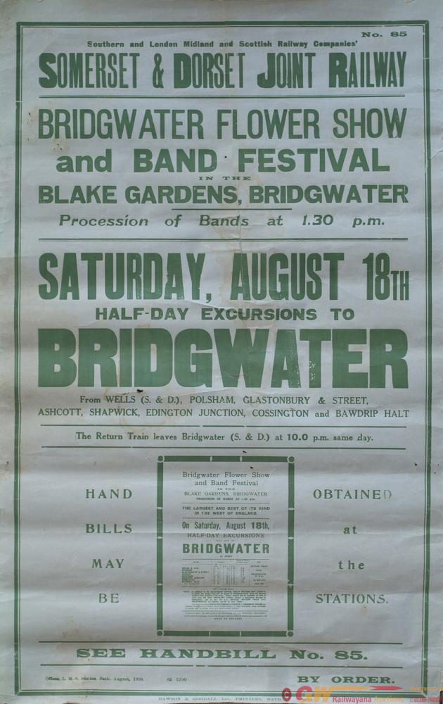 Poster S&DJR BRIDGWATER FLOWER SHOW AND BAND