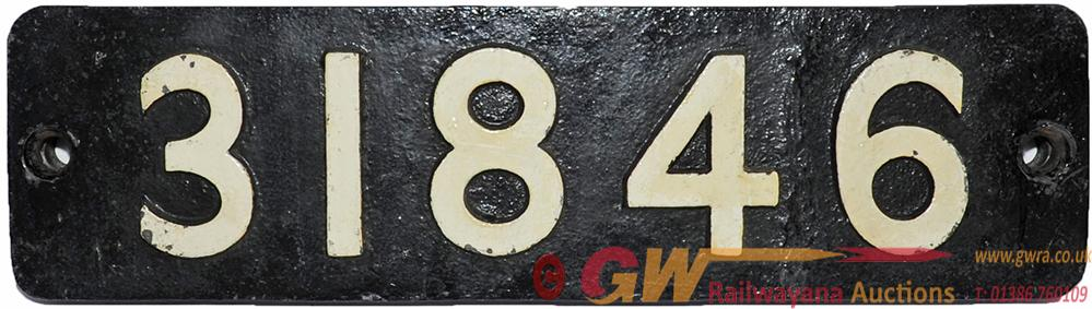 Smokebox Numberplate 31846. Ex Southern Railway