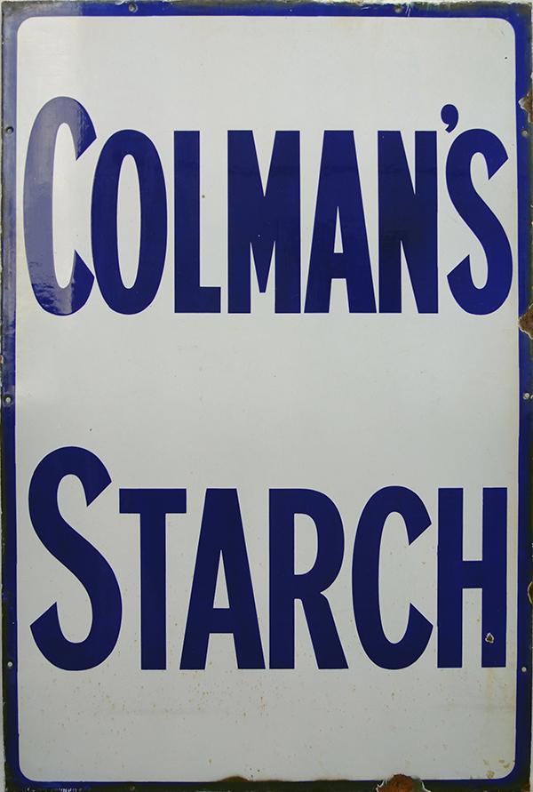 Enamel Advertising Sign 'Colmans Starch', Blue
