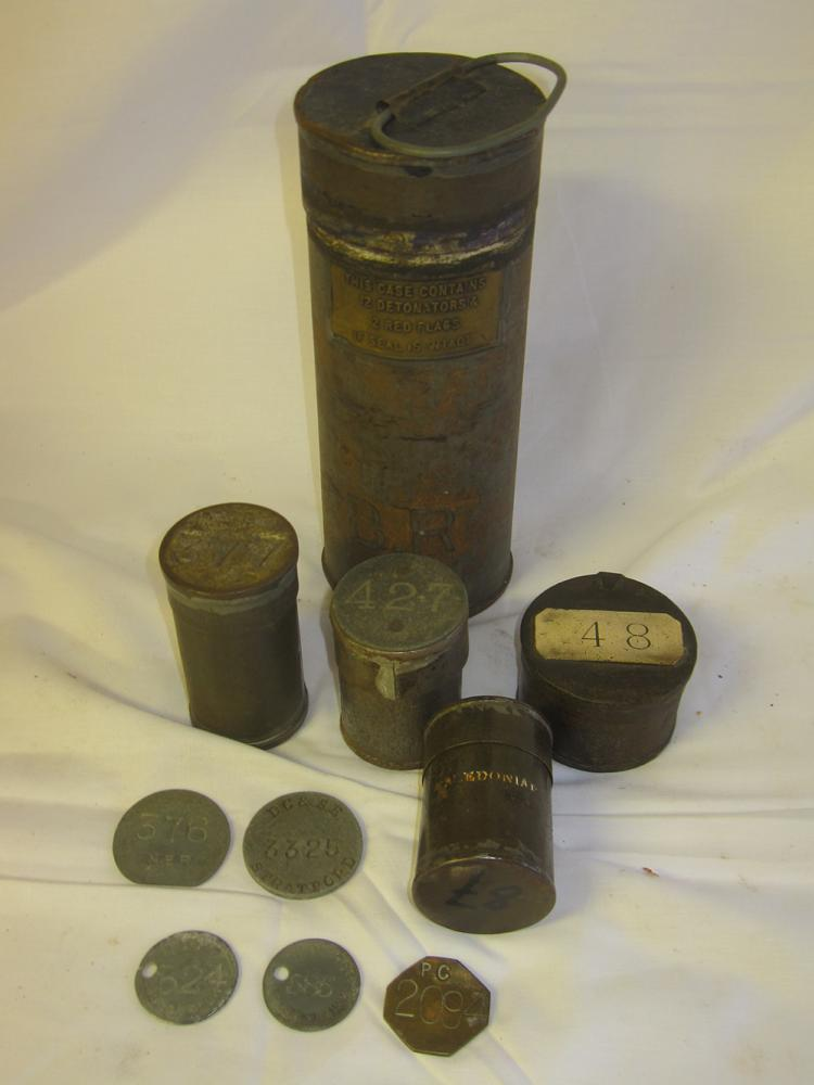4 Office Pay Tins. One Stamped Caledonian With 1 X