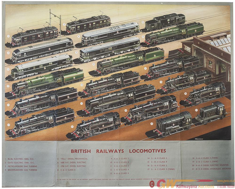 Poster BR BRITISH RAILWAYS LOCOMOTIVES By A. N.