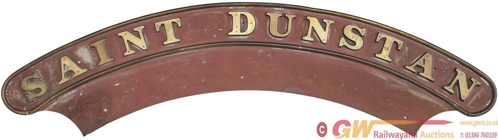 Nameplate St Dunstan. Ex GWR Churchward 4-6-0