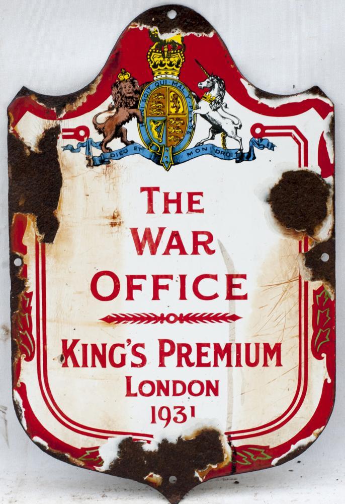 Advertising Enamel Sign. THE WAR OFFICE KING'S
