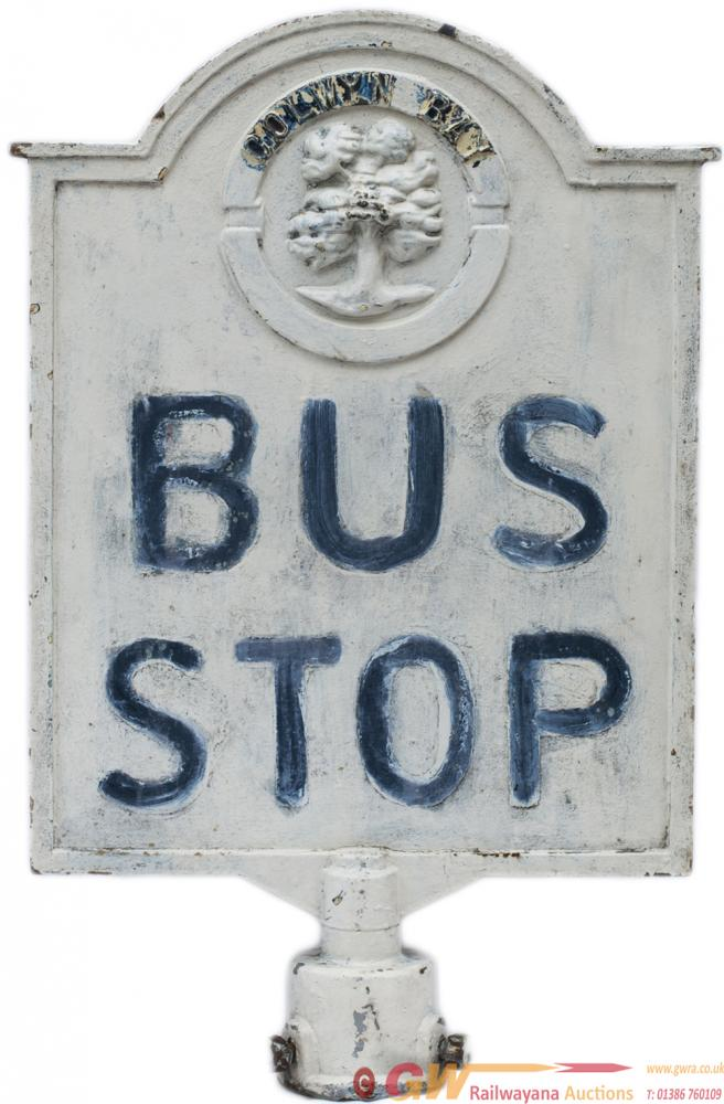 Bus Stop Sign COLWYN BAY, Double Sided Cast Iron