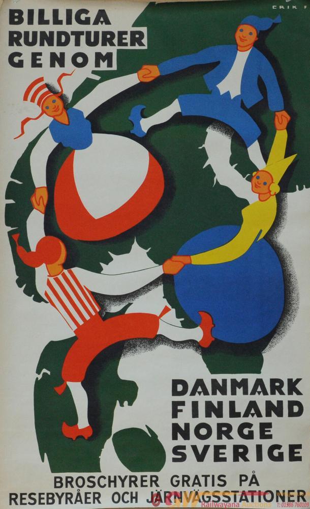 Poster - Danish Railways 'Billiga Rundturer Genom