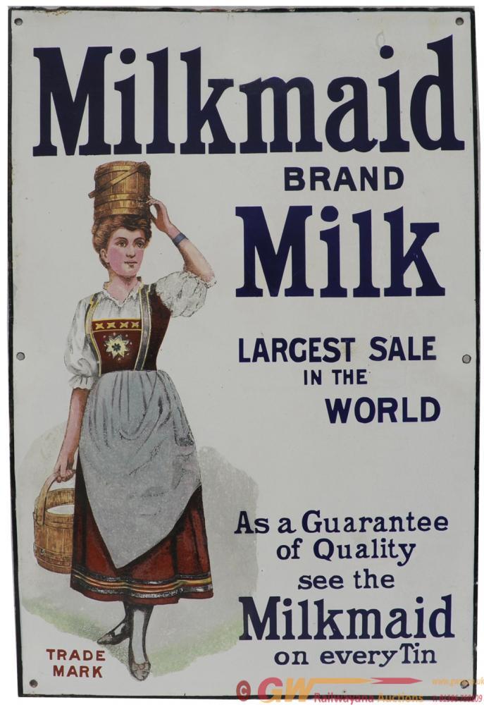 Advertising Enamel Sign 'Milkmaid Brand Milk -
