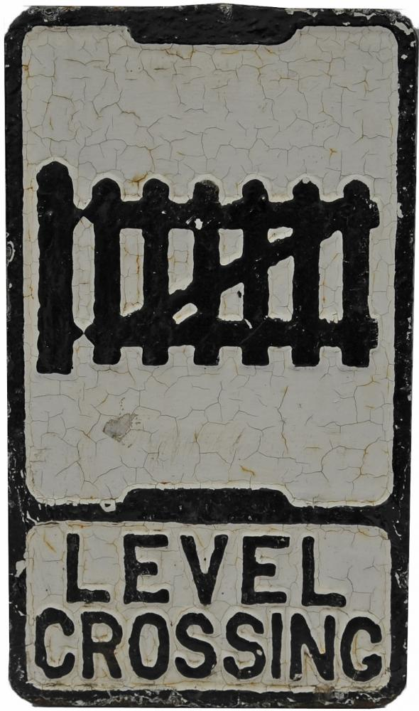 Cast Iron Road Sign, Level Crossing', Showing 3