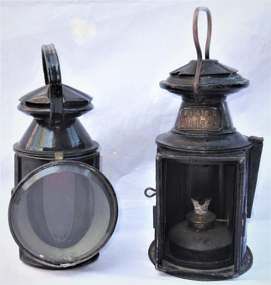 2 X Pre Grouping Railway Hand Lamps. SE&CR