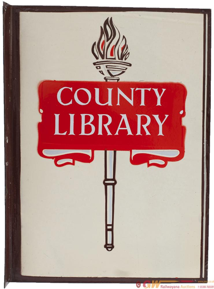 Enamel Advertising Sign COUNTY LIBRARY, Double