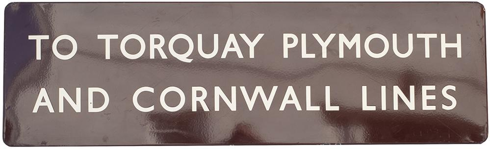 BR(W) FF Enamel Railway Sign TO TORQUAY PLYMOUTH