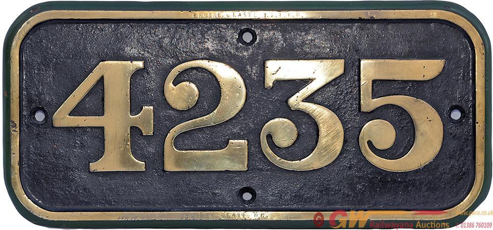 GWR Brass Cabside 4235 Ex 280 T Built 1914 Swindon
