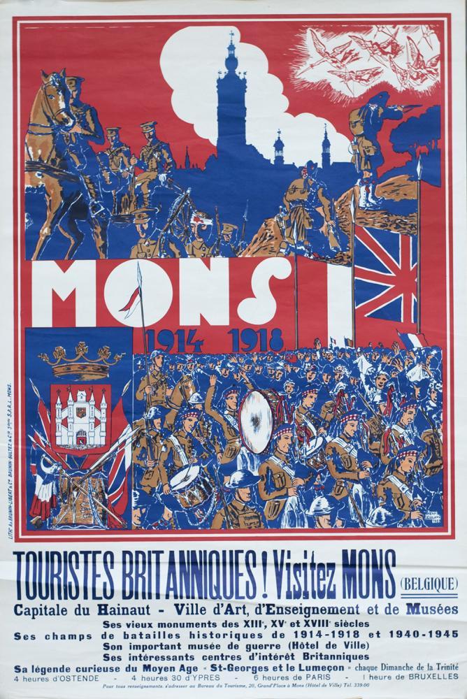 Poster BELGIAN TOURIST DEPARTMENT MONS 1914-1918