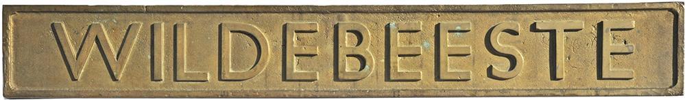 Nameplate WILDEBEESTE. Ex 4-6-0 Thompson b1