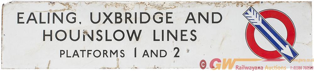 London Underground Enamel Sign EALING, UXBRIDGE &