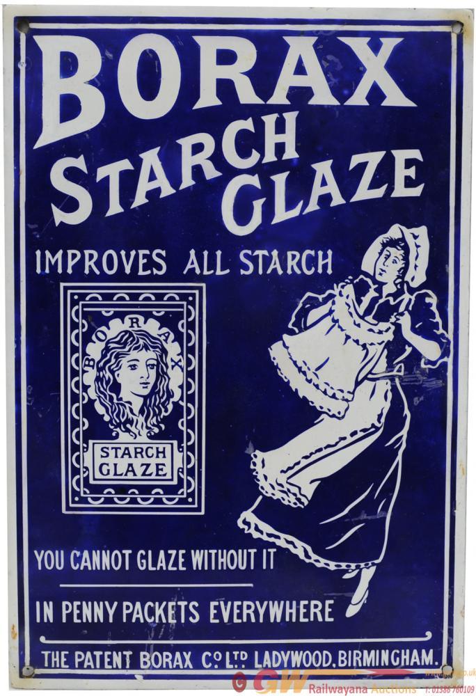 Advertising Enamel Sign 'Borax Starch Glaze -