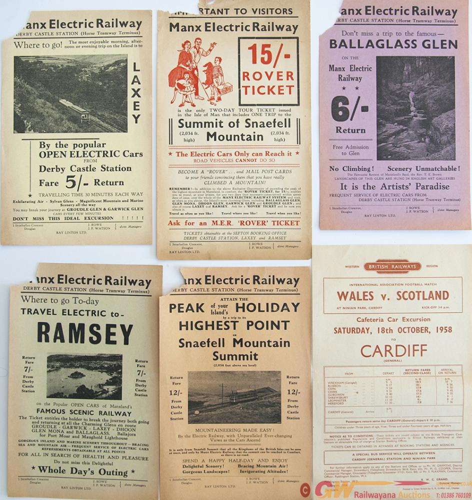 A Collection Of Over 100 Railway Handbills 10in X