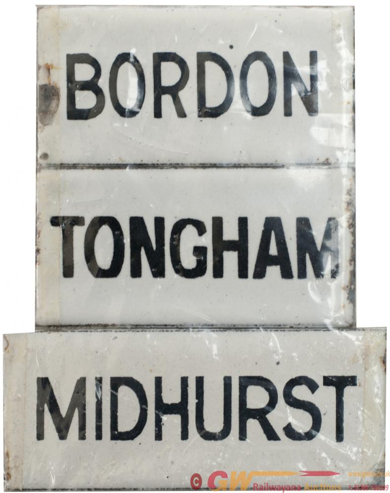 LSWR Enamel Destination Plates; BORDON 2.5in X