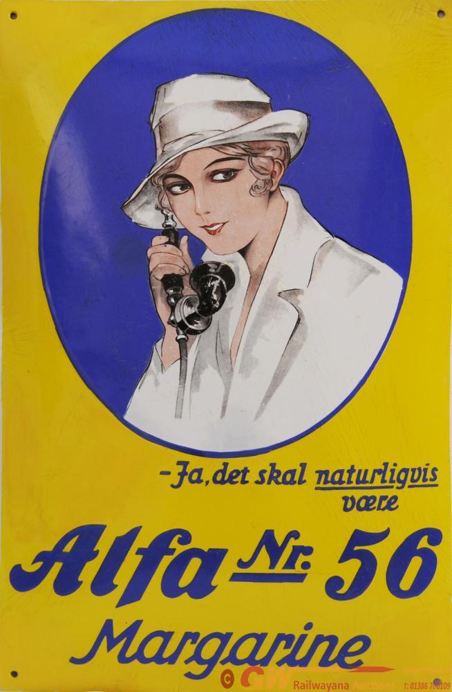 Advertising Enamel Pictorial 'Alfa Nr 56 Margarine
