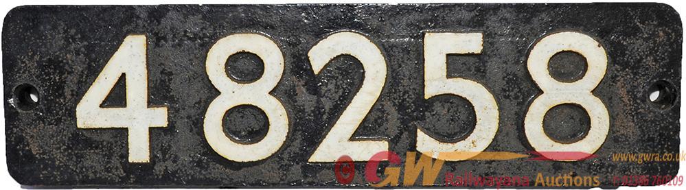 Smokebox Numberplate 48258. Ex Stanier 8f