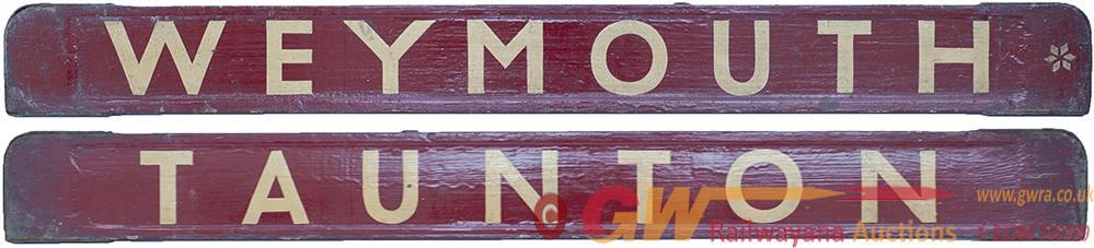 GWR/BR-W Wooden Carriage Board TAUNTON - WEYMOUTH