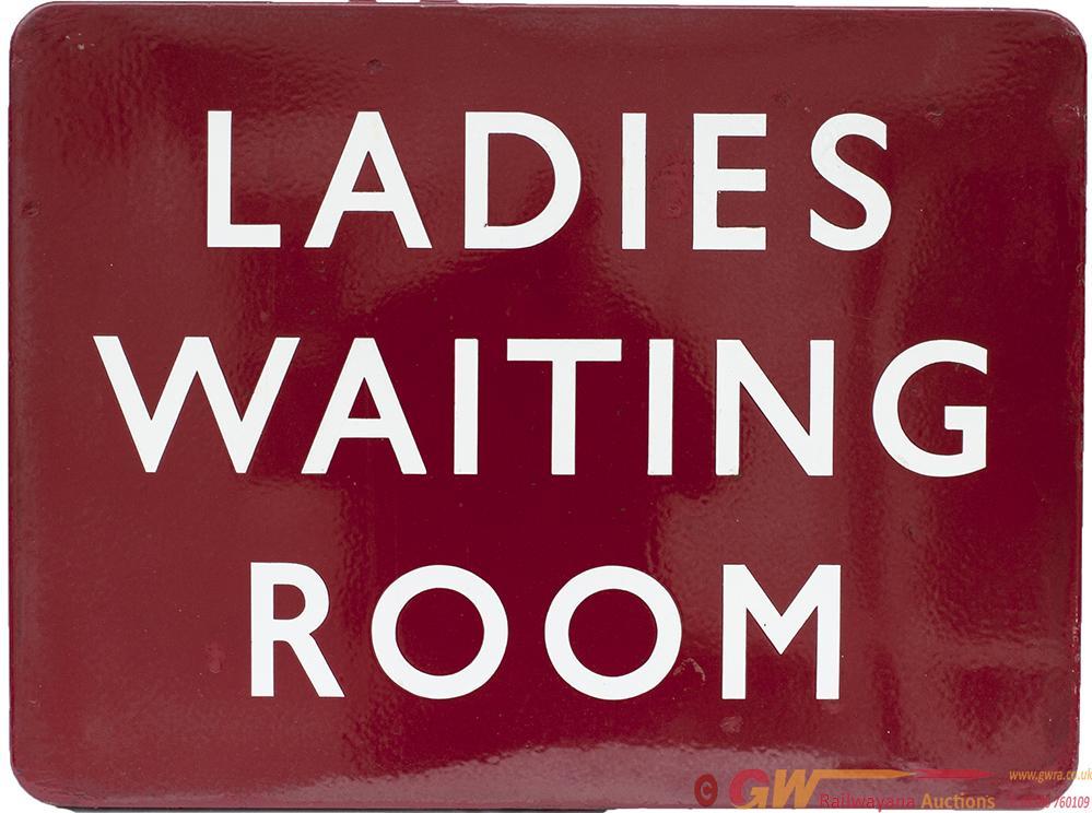 BR(M) FF Enamel Sign LADIES WAITING ROOM. In Good