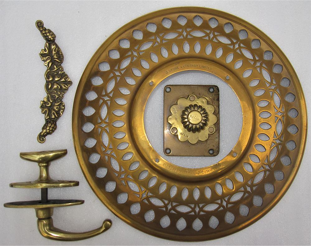 A Collection Of Brass Carriage Fittings. A Door
