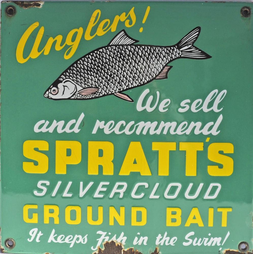 Enamel Advertising Sign Spratts Silvercloud Ground