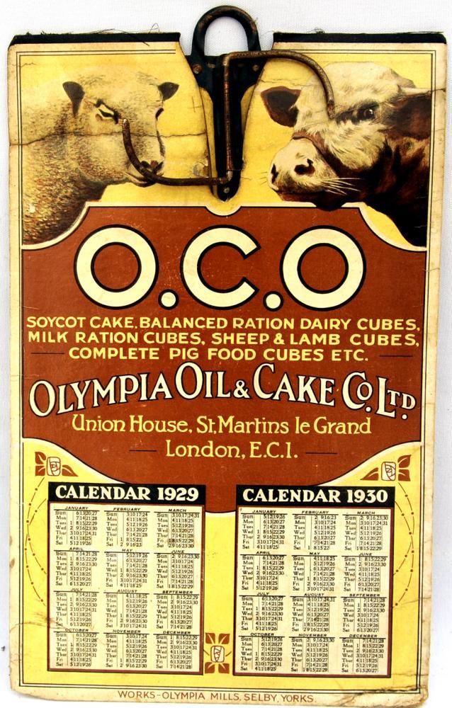 OCD Olympia Oil & Cake Co Ltd Calendar Card 1920