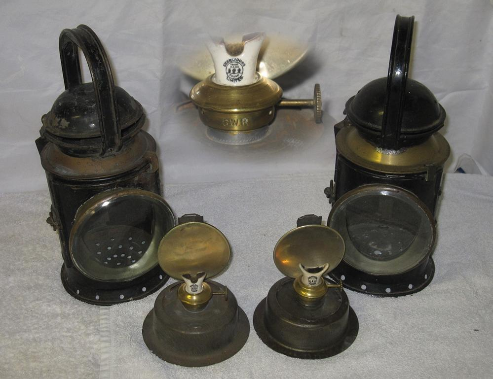 2 GWR Post Grouping Hand Lamps. One Plated