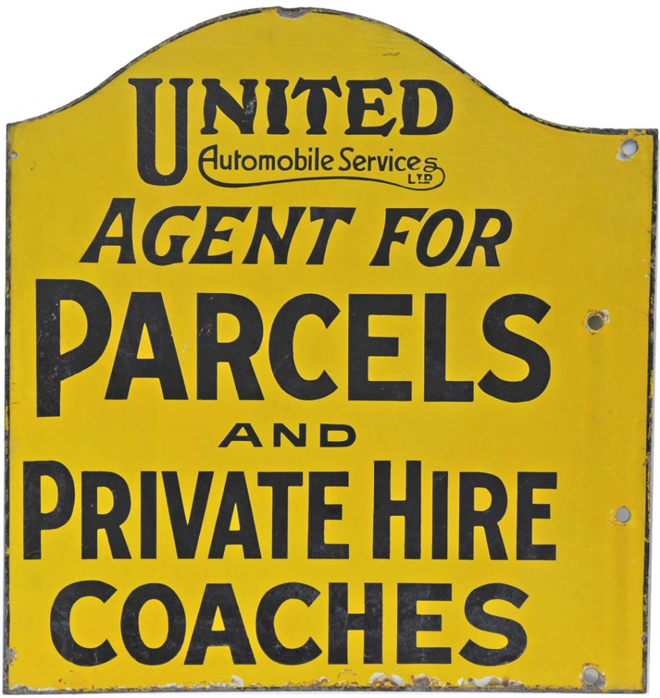 Enamel Advertising Sign United Automobile Services