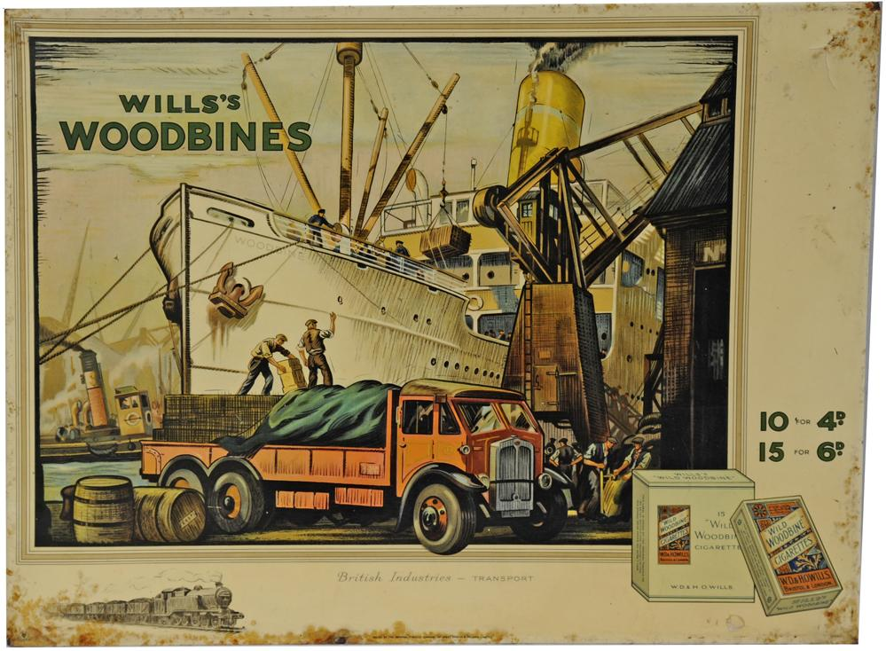 Tin Advertising Show Card Wills Woodbines.