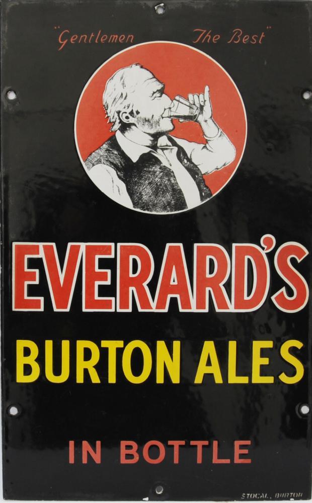 Enamel Advertising Sign 'Everard's Burton Ales In