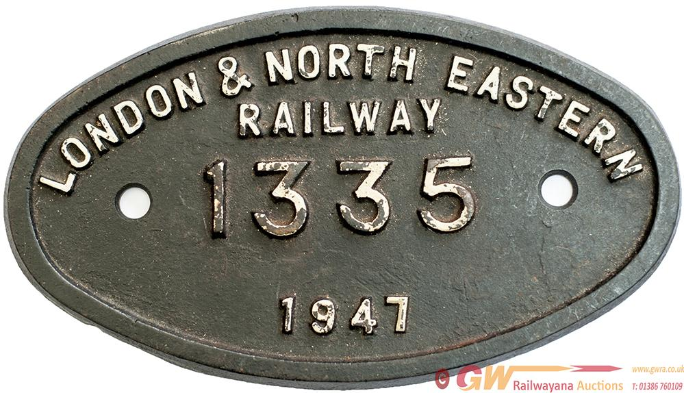 Worksplate 9X5 LONDON & NORTH EASTERN RAILWAY 1335