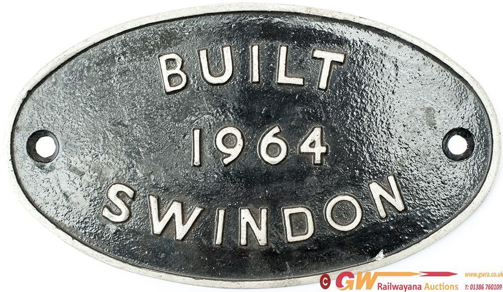 Diesel Worksplate BUILT 1964 SWINDON Ex BR Class