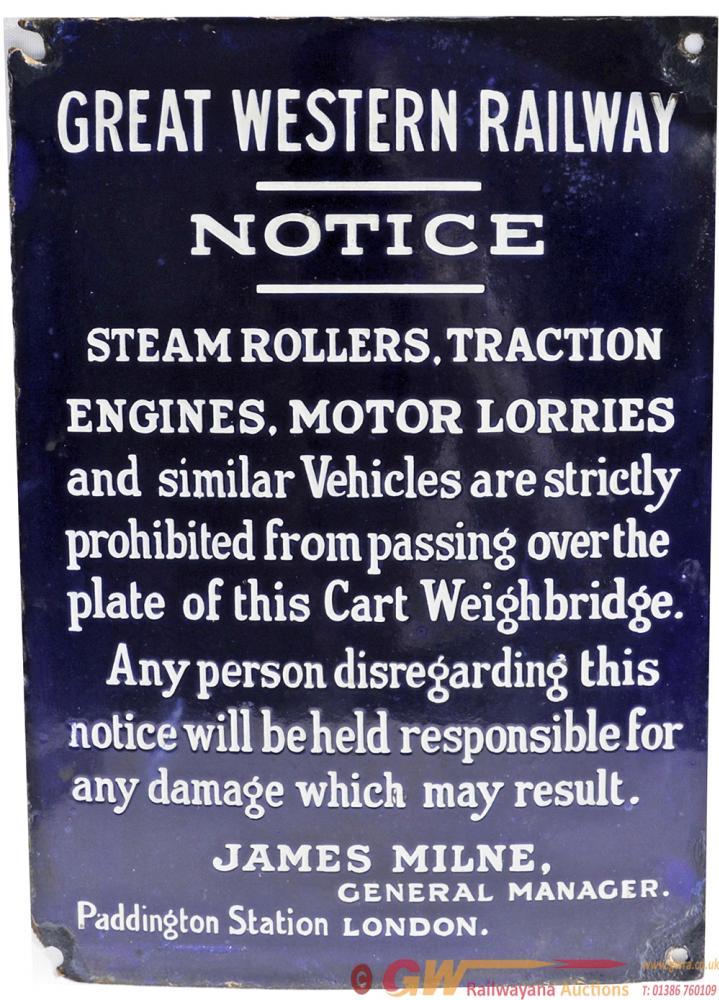 GWR Enamel Cart Weighbridge Notice 'Steam Rollers