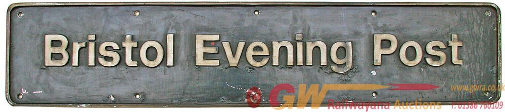 Nameplate 'Bristol Evening Post', Cast Aluminium