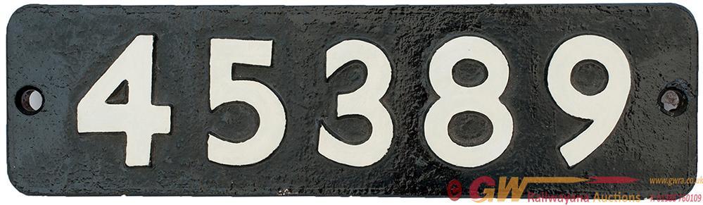 Smokebox Numberplate 45389 Ex LMS 4-6-0 Black 5