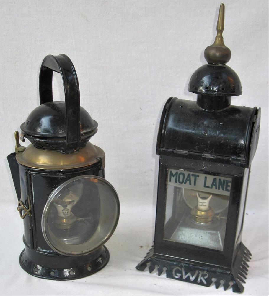 2 X Railway Lamps. An Unmarked GWR Brass Collar