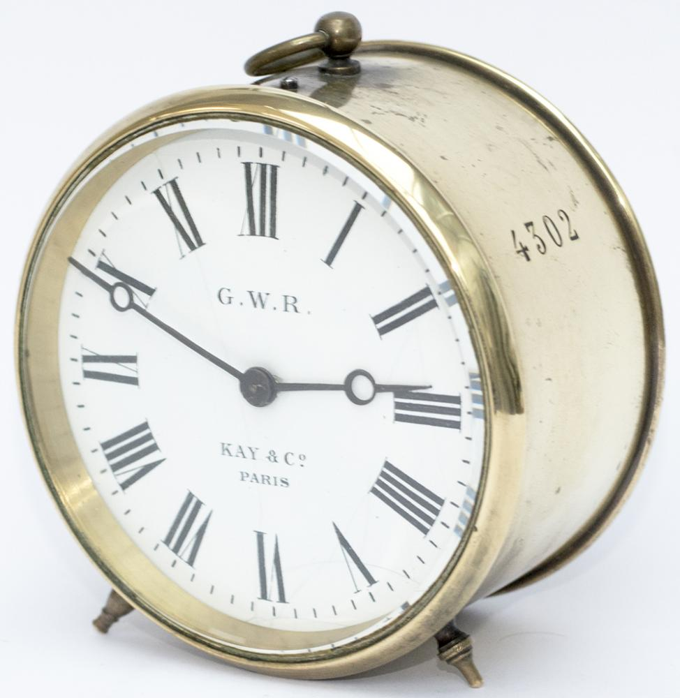 GWR Brass Drum Clock With Original Enamel Dial GWR
