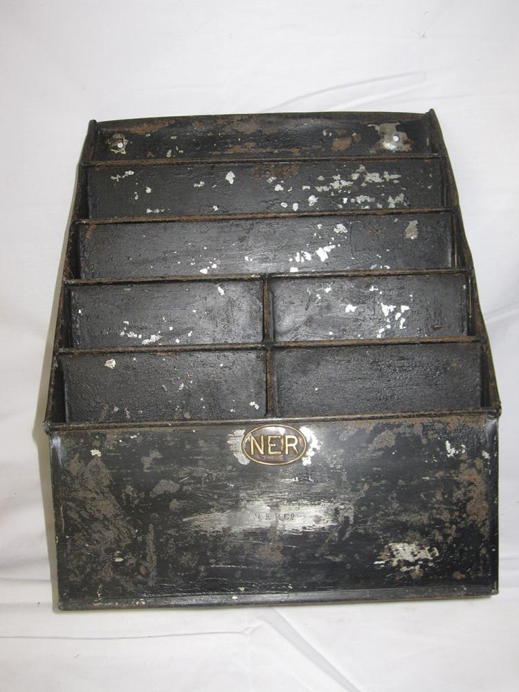 An NER Leaflet Rack Complete With NER Oval Plate
