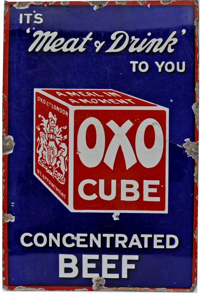 Enamel Advertising Sign Oxo Cube Concentrated Beef