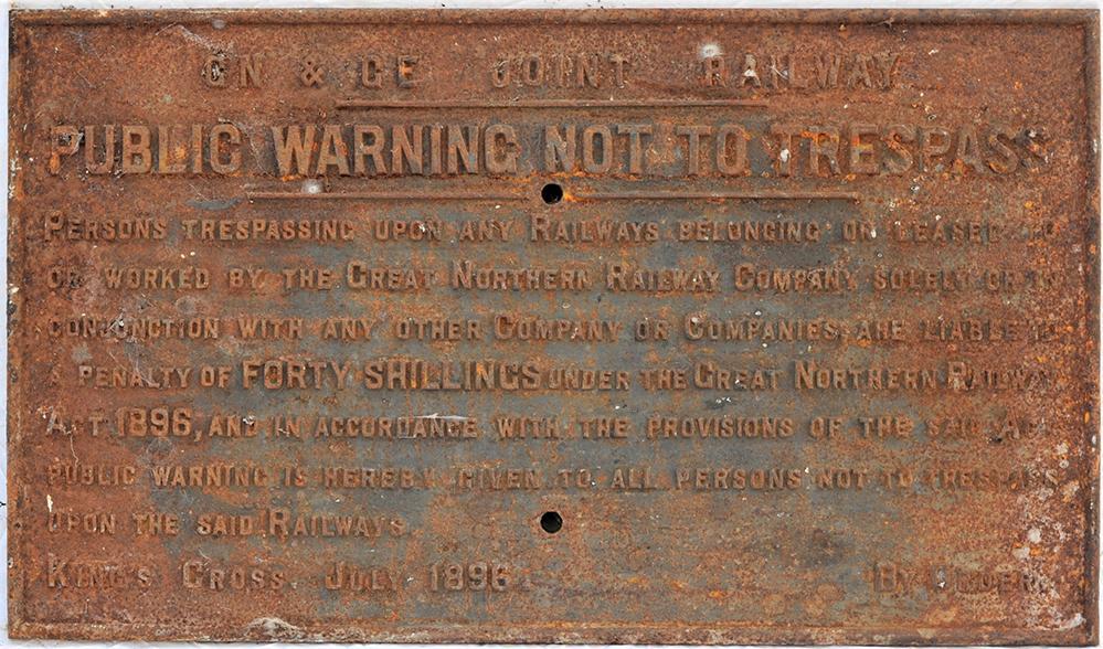 GN & GE JOINT Railway Cast Iron Trespass Notice.