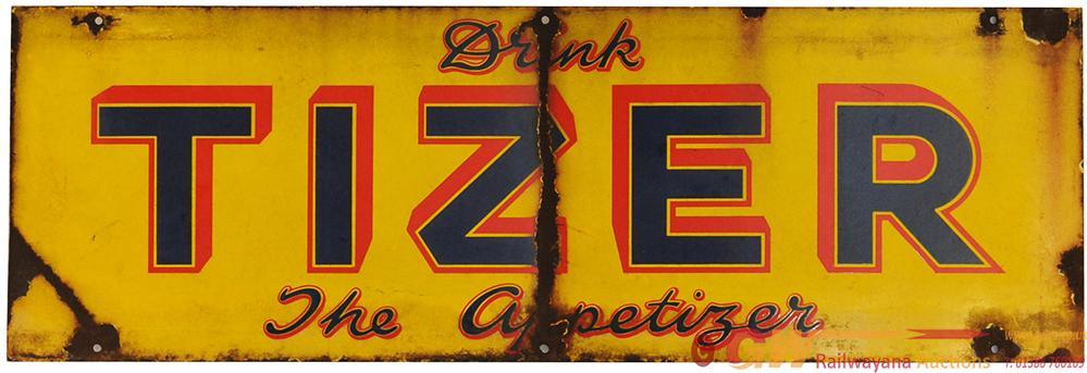 Advertising Enamel Sign 'Drink Tizer The