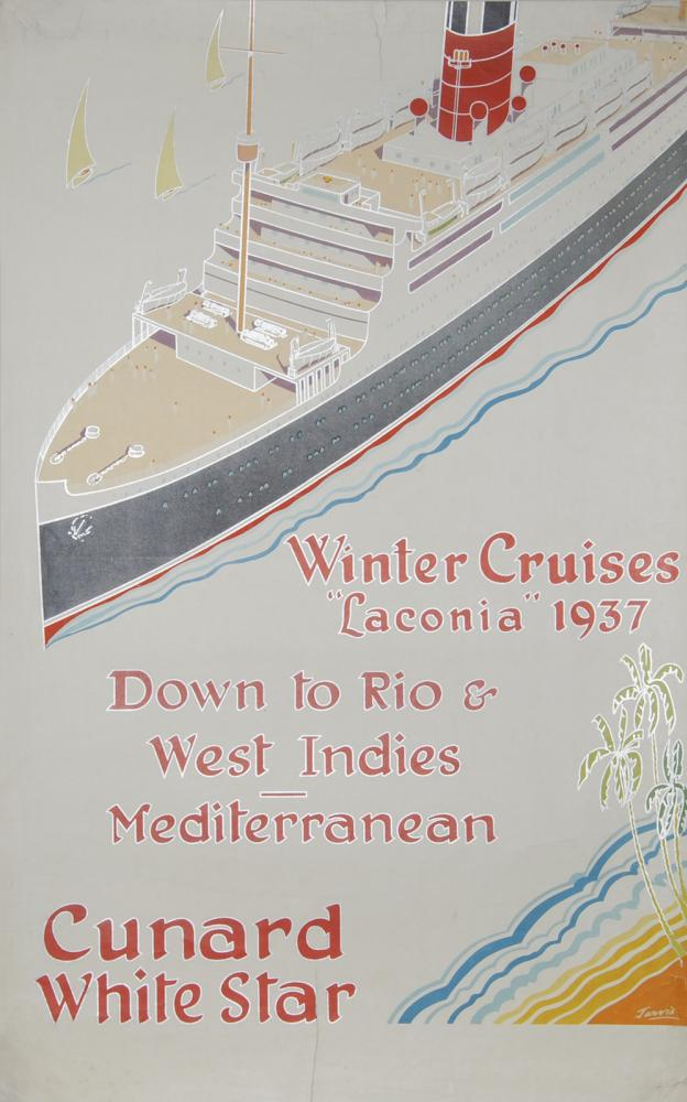 Poster Cunard White Star ' Winter Cruises Laconia