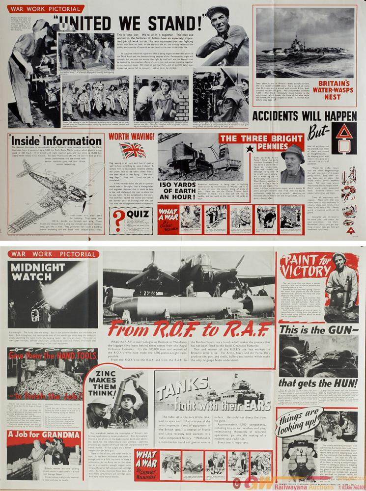 Posters ww2 WAR WORK PICTORIAL x2 Printed By H. M.