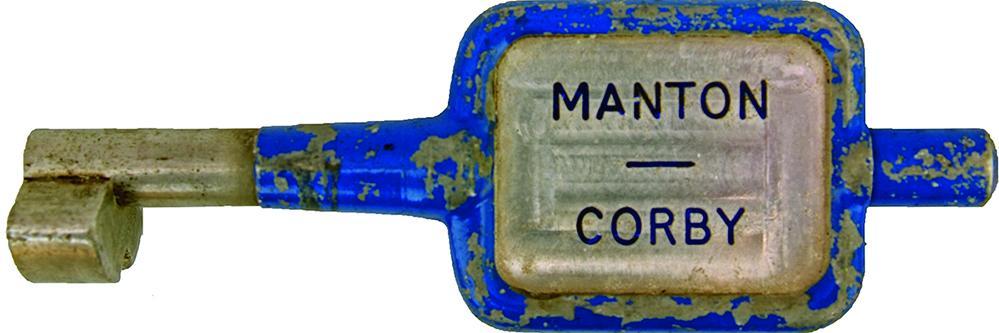 Alloy Key Token MANTON - CORBY. Ex Midland Railway