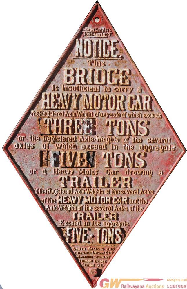 SECR Cast Iron Bridge Diamond Sign Complete With