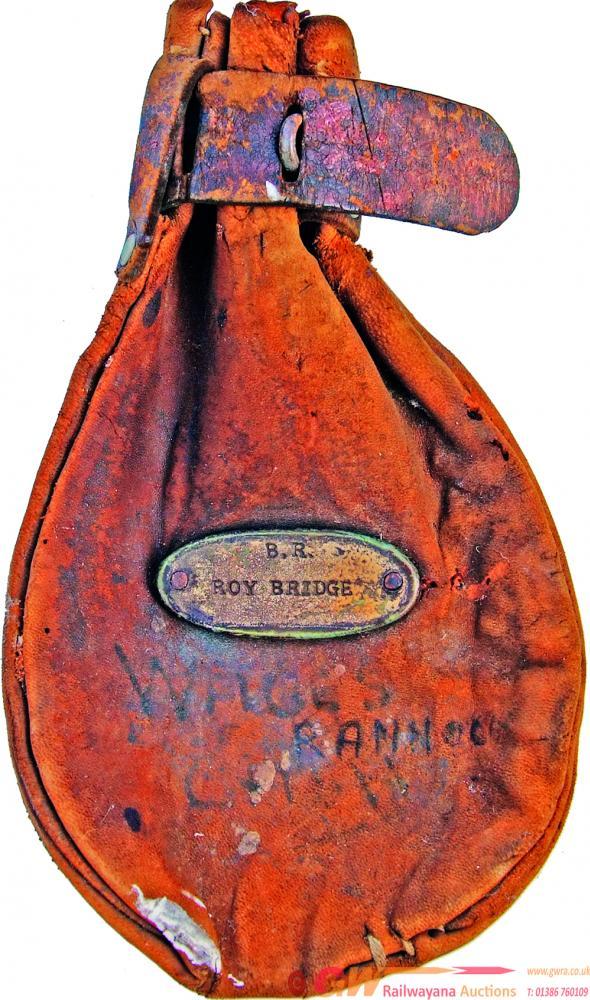 British Railways Leather Cash Bag Bearing A Brass